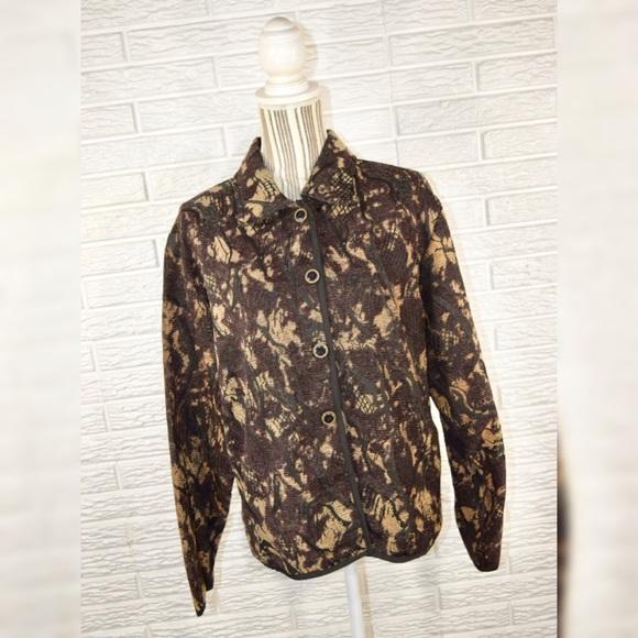 Vintage Jackets & Blazers - Vintage Keren Hart Brown & Black Patterned Jacket
